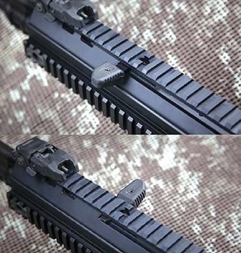 Рукоятка взведения ACR вынесена вперед, на цевье. Она легко переставляется на другую сторону, но главное — неподвижна при выстреле, что позволяет с комфортом управлять винтовкой из различных положений