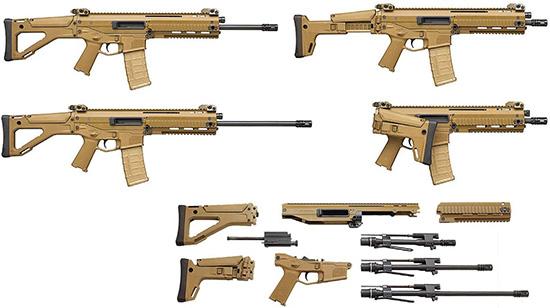 Заводские варианты компоновки винтовок ACR: две разновидности прикладов, несколько вариантов стволов различной длины