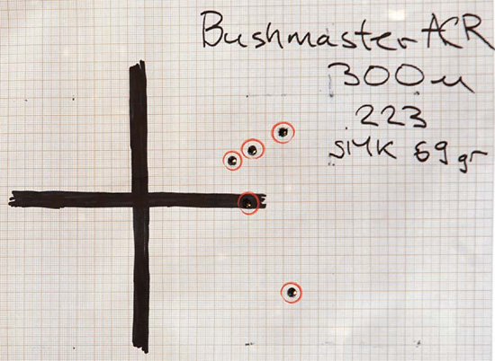 Мишень Bushmaster ACR с 300-метрового рубежа (це- левой патрон с пулей Sierra Match King 69 гран). Кучность: 1 МОА по 5 выстрелам (0,5 МОА — по четырем)