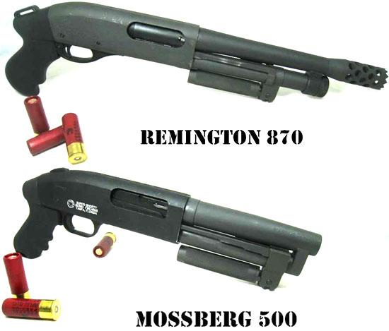 Serbu SUPER-SHORTY созданный на базе Remington 870, с магазином на 3 патрона и дульной насадкой для вышибания дверных замков (сверху) и созданный на базе Mossberg 500, с магазином на 2 патрона (снизу)