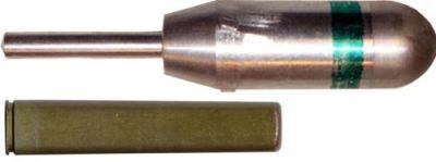 30мм граната БМЯ-31 «Ящерица» (вверху) 9-мм специальный бесшумный вышибной патрон ПМАМ «Мундштук» (внизу)