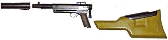 Гранатомет-пистолет «Дятел» / изделие «Д» в комплекте с дульной насадкой и кобурой-прикладом
