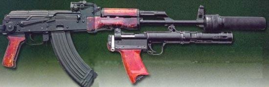стрелково-гранатометный комплекс Тишина: автомат АКМС глушитель ПБС-1 подствольный гранатомет БС-1 (РГА-86)