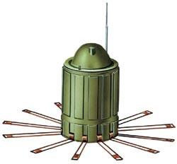 Противоднищевая мина АТ-2 (DM1233), Германия. Корпус металлический, масса мины - 2,3 кг, заряда ВВ - 0,8 кг. Установка минным заградителем, НУР систем залпового огня