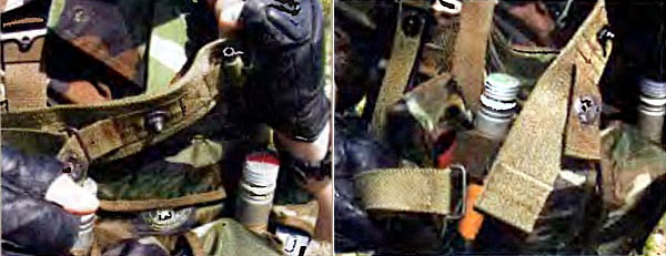 Ремень РРП. Расстегивание элемента экстренного сброса на несущей панели при нахождении оружия за спиной поверх рюкзака. Левая (слабая) рука захватывает несущую панель вверху у плеча, а правая (сильная) рука расстегивает турникетную кнопку экстренного сброса (слева). Экстренный сброс. Сильная рука выдергивает передний отвод из несущей панели, слабая рука продолжает удерживать несущую панель, присоединенную к задней антабке оружия (справа)