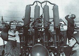 Счетверенная зенитно-пулеметная установка образца 1931 года на защите московского неба. 1941 год