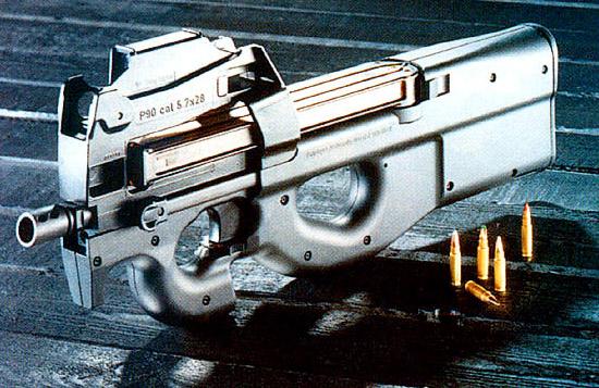 Образец P90 фирмы «Фабрик Насьональ» калибра 5,7x28 мм стал первым, воплотившим концепцию оружия самообороны нового стиля. С тех пор требования военных менялись несколько раз