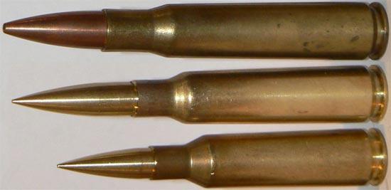 .50 BMG, .460 Steyr, .416 Barrett (сверху - вниз)