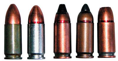 9х19 пистолетные патроны (слева — направо): 9х19.000 Ульяновского механического завода; 9х19 ПСО Тульского патронного завода; 7 Н21; ПБП (7 Н31); патрон с пулей пониженной рикошетирующей способностью со свинцовым сердечником