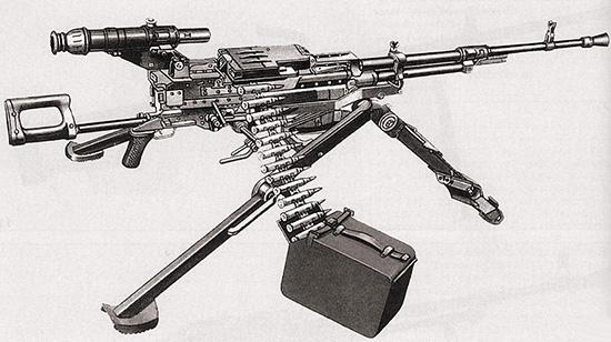 12,7-мм крупнокалиберный пулемет НСВС «Утес» с оптическим прицелом СПП на станке-треноге 6Т7