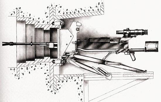 12,7-мм крупнокалиберный пулемет НСВС «Утес» на станке-треноге 6Т7, смонтированный в долговременном <a href='https://arsenal-info.ru/b/book/2317021516/10' target='_self'>оборонительном сооружении</a> на специальной установки 6У10