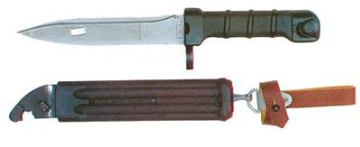 Клинковый штык-нож изделие «6х5» с пластмассовыми ножнами к автоматам Калашникова АК-74 и Никонова АН-94