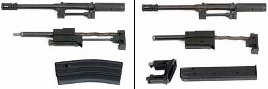 Конверсионные комплекты под патроны 5.56х45 мм (слева) и 9х19 мм (справа)