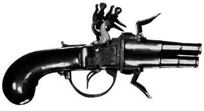 Малый карманный пистолет с вращающимися четырьмя стволами и с французскими батарейными ударно-кремневыми замками. XVIII век