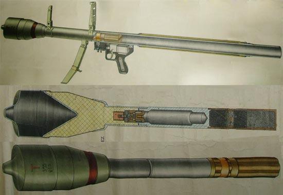 гранатомет Pancerovka P27 и граната Nb-P27 в разрезе