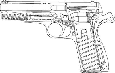 Схема (разрез) 9-мм пистолета «Браунинг» НР М 1935 с отъемным коробчатым магазином с двухрядным расположением патронов
