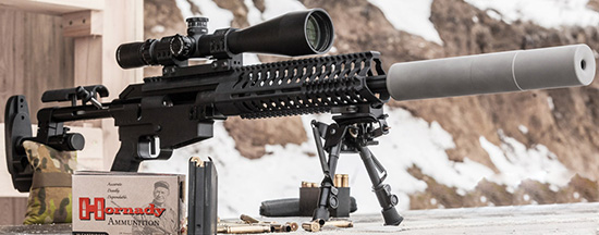 Star Quad — универсальная спортивно-тактическая винтовка семейства McMillan Alias. Установлен саунд-модератор Ase Utra