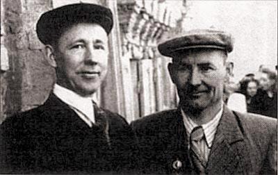 Редкая фотография начала 1950-х гг. – два тульских оружейника и два друга: И.А. Афанасьев и Н.Ф. Макаров на первомайской демонстрации в Туле