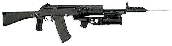 Автомат АН-94 с подствольным гранатометом ГП-25 и с примкнутым штык-ножом