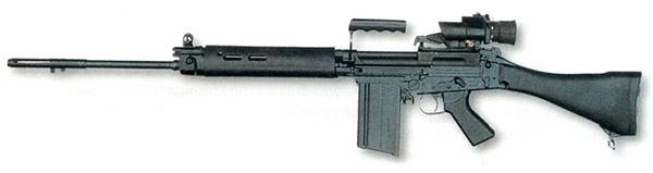 7,62-мм винтовка L1А1 (вариант бельгийской FN FAL, не имеющий режима автоматического огня) с четырехкратным оптическим прицелом Trilux. Оружие применялось преимущественно в населенных пунктах, оптический прицел позволял более четко идентифицировать противника (террориста) и гражданских лиц