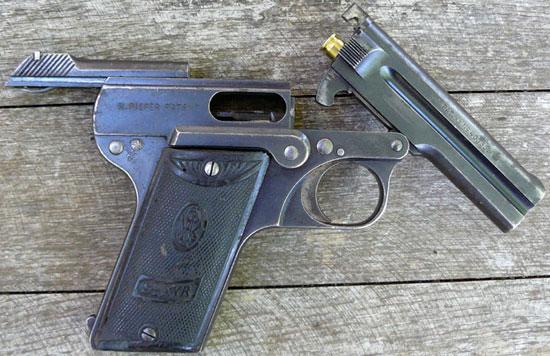 Steyr-Pieper M1908 с откинутым стволом