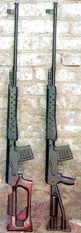 Общий вид 6-мм самозарядных снайперских винтовок СВК (слева) и СВК-С