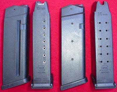 магазины для Glock 20 на 10 патронов (слева) и 15 патронов (справа)