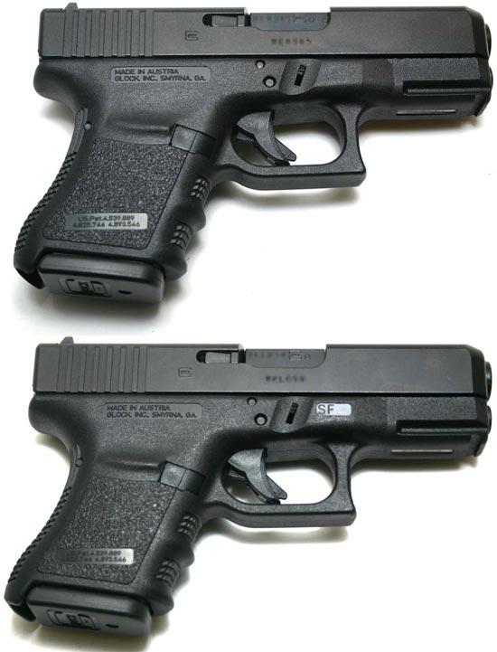 Glock 29 (сверху) и Glock 29SF (снизу)
