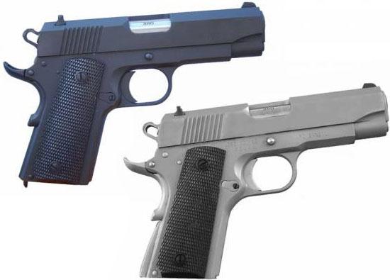 Pistola .380 IMBEL модели MD1 (вверху) и MD1 A2 (внизу)