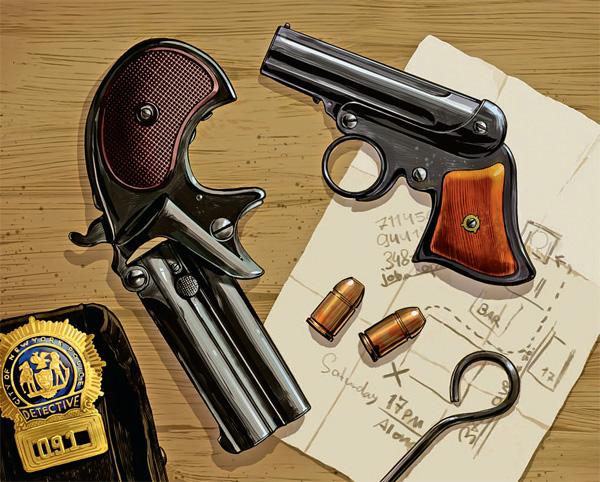 Карманные неавтоматические пистолеты типа «дерринджер». Среди наиболее популярных оказался «Ремингтон Дабл» (слева) с откидным блоком ствола и курком . При каждом взведении курка храповый механизм поворачивал его качающийся боек вверх или вниз, и после нажатия на спуск происходил выстрел из соответствующего ствола. Эта система по сию пору предлагается в качестве «оружия скрытого ношения»