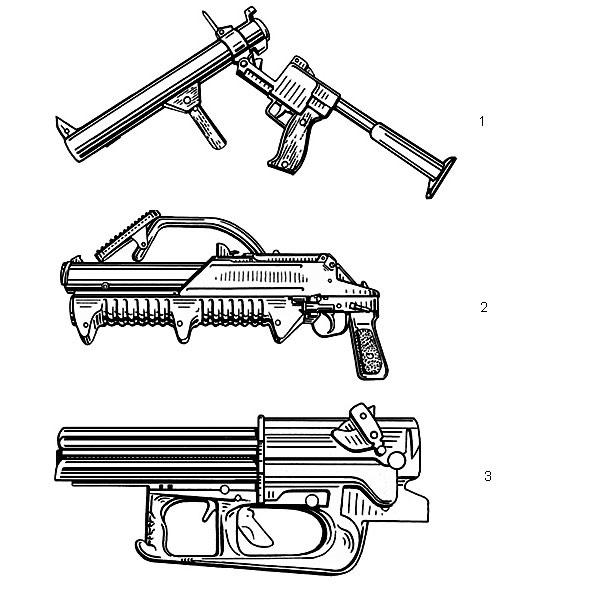 1. 50-мм ручной специальный гранатомет РГС-50М в положении для заряжания. Масса оружия — 6,3 кг, длина — 904 мм, дальность прицельной стрельбы — 150 м; 2. 43-мм ручной гранатомет ГМ-94 (Россия). Масса оружия без выстрелов — 4,8 кг, длина со сложенным плечевым упором — 540 мм, емкость магазина — 3 выстрела, дальность прицельной стрельбы — 300 м; 3. 76,2-мм ручной гранатомет «Самурай» (Франция) разработан специально для применения в городских условиях. Масса оружия без выстрелов — 7 кг, дальность эффективной стрельбы — до 300 м по цели площадью 5×5 м и до 100 м по цели 1×0,5 м