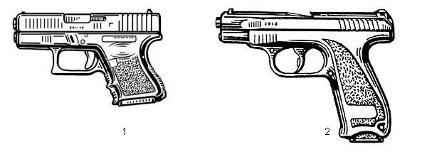 1. Малогабаритный 9-мм «Глок-26» (Австрия) вполне пригоден для скрытого ношения — в качестве вооружения «полицейского в штатском». Патрон — 9×19, масса без патронов — 0,6 кг, длина — 160 мм, емкость магазина — 10 или 12 патронов; 2. Компактный пистолет ГШ-18 (Россия). Патрон — 9×19, масса без патронов — 0,59 кг, длина — 184 мм, начальная скорость пули — 530 м/с, емкость магазина — 18 патронов