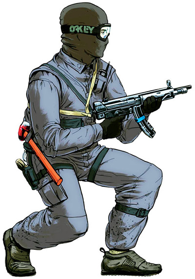 Боец спецподразделения, вооруженный 9-мм пистолетом-пулеметом МР5А3 (ФРГ) в варианте с ременной петлей вместо приклада и креплением фонаря-осветителя на цевье. Кроме пистолета боец оснащен еще и кувалдой для вскрытия двери в ходе штурма здания