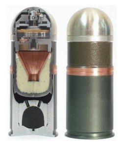 Устройство и внешний вид 40мм (40х53 НАТО) гранаты с осколочно-бронебойной боевой частью
