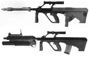 сравнение винтовочного и подствольного гранатометов, установленных на австрийские штурмовые винтовки Steyr AUG