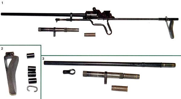 1. Ружьё МЦ260, вставной ствол и патрон 12-го калибра. 2. Детали плечевого упора. 3. Массивный основной и вставной ствол, ружья МЦ260. Внизу патрон 12-го калибра