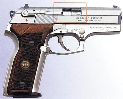 Гильзовыводное окно в пистолете «Беретта» «Кугуар»