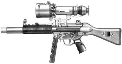 9-мм пистолет-пулемет МР.5 SD с телескопическим прицелом