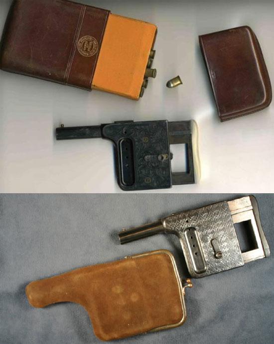 Варианты скрытого ношения пистолетов «Le Gaulois» в портсигаре (вверху) и в кошельке (внизу)