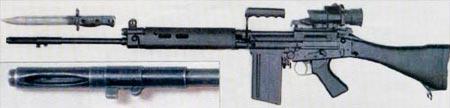 L1A1 оснащенная ночным прицелом; с пластиковыми цевьем, прикладом и пистолетной рукояткой; и пламегаситель