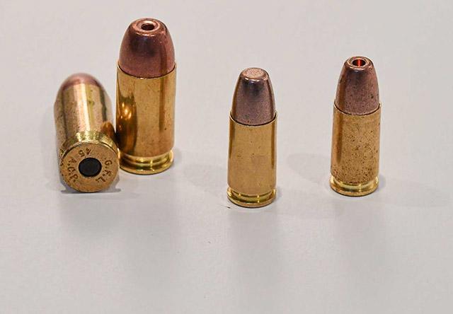 Новые патроны Fiocchi Blue Guardian предназначены для сотрудников правоохранительных органов: слева направо - .45 ACP Blue Guardian HP, 9мм Blue Guardian FR и HP и калибр 9 мм