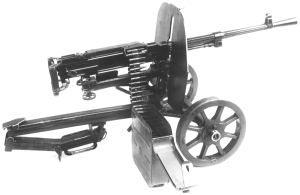 Станковый пулемет Горюнова обр. 1943 г. (СГ) на колесном станке конструкции Дегтярева с подогнутой стрелой для стрельбы из окопа