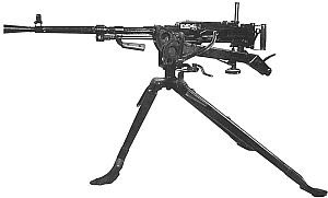 Станковый пулемет Горюнова модернизированный (СГМ) на станке-треноге конструкции Сидоренко-Малиновского (в положении для стрельбы сидя).
