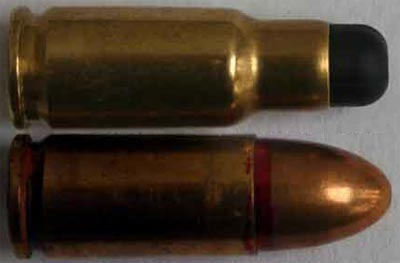 6.5x25 CBJ (сверху) 9x19 Parabellum (снизу)
