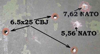 результаты стрельбы патронами 6.5x25 CBJ, 7.62x51 NATO, 5.56х45 NATO по 7-мм броневому листу российского бронетранспортера МТ-ЛБ