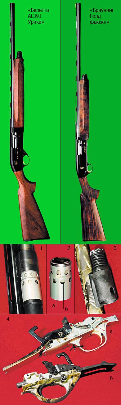 1. Газоотводная система ружья «Браунинг». 2. Газовый поршень ружья «Браунинг»: а - стопорное кольцо газовой муфты; б - введение второго ряда газосбрасывающих отверстий в конструкцию поршня позволило уменьшить импульс отдачи, воздействующий на стрелка. 3. Газоотводная система ружья «Беретта». 4. Ударно-спусковой механизм: а - ружья «Браунинг»; б - ружья «Беретта».