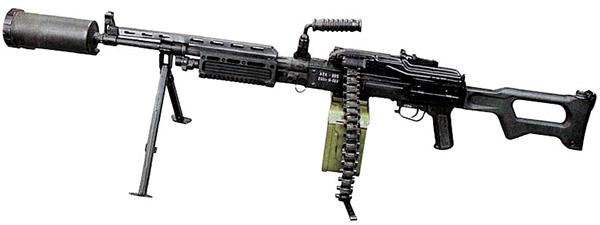 Единый пулемет АЕК-999 «Барсук» с прибором малошумной стрельбы (ПМС). Вид слева