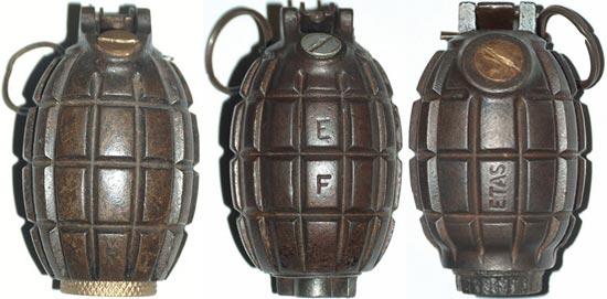 Mills Bomb № 5, №, 23 № 36 (слева - направо)