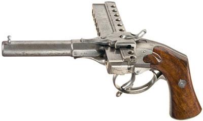 пистолет XIX века построенный по схеме «губная гармошка»