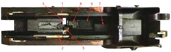 Вид колодки сверху со снятым ствольным блоком: 1 и 2 – штоки боевых пружин, 3 – заднее плечо правого спускового рычага, 4 – собачка спускового крючка, 5 – селектор, 6 – лопасть спускового крючка, 7 – защёлка ствольного блока. Левый курок взведён, шток левой боевой пружины находится в переднем положении. Собачка спускового крючка отведена селектором назад и выведена из-под заднего плеча правого спускового крючка. На левом курке виден вырез для передаточного рычага.